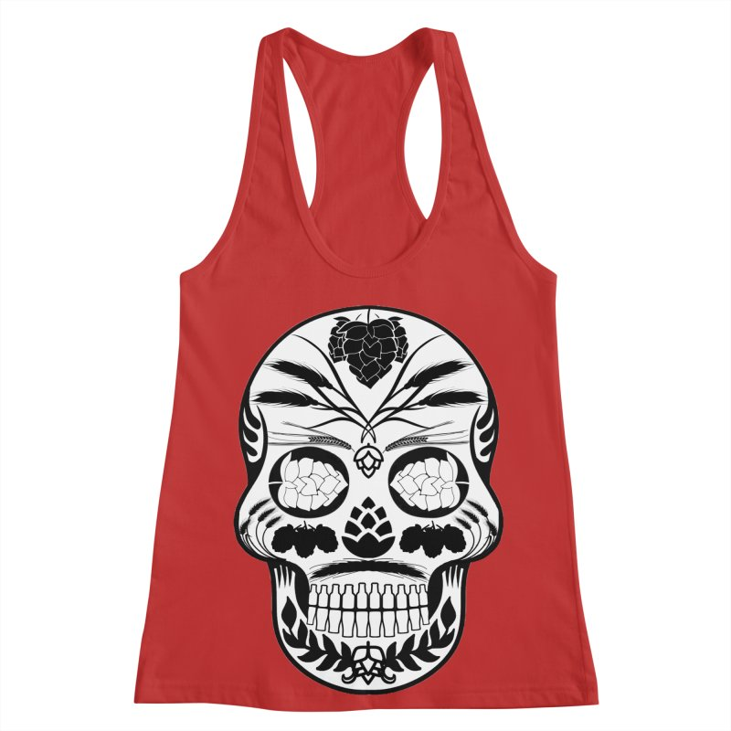 Hoppy Sugar Skull B&W Women's Racerback Tank by DrinkIN GeekOUT's Artist Shop