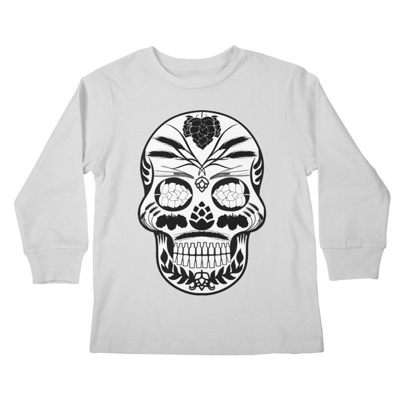 Hoppy Sugar Skull B&W Kids Longsleeve T-Shirt by DrinkIN GeekOUT's Artist Shop