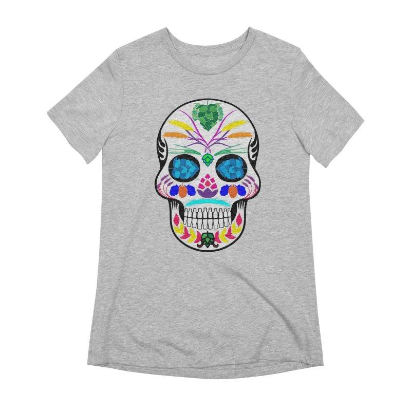 Hoppy Sugar Skull (color) Women's Extra Soft T-Shirt by DrinkIN GeekOUT's Artist Shop