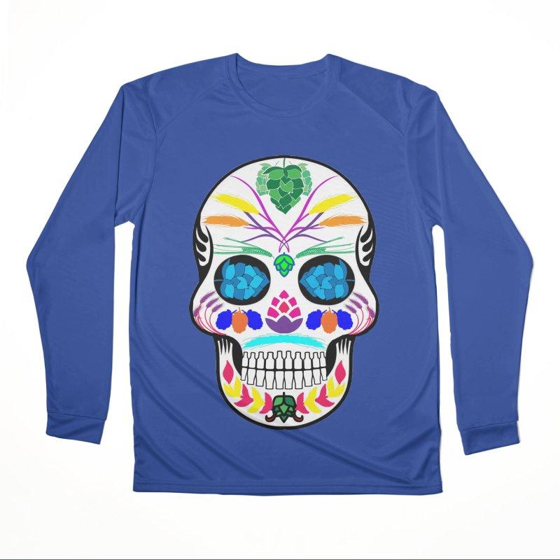 Hoppy Sugar Skull (color) Women's Performance Unisex Longsleeve T-Shirt by DrinkIN GeekOUT's Artist Shop