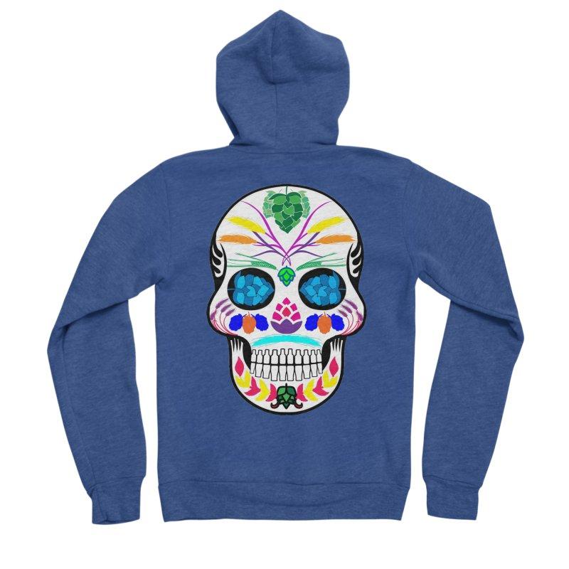 Hoppy Sugar Skull (color) Women's Sponge Fleece Zip-Up Hoody by DrinkIN GeekOUT's Artist Shop