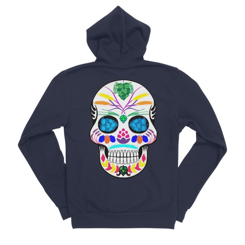 Hoppy Sugar Skull (color) Women's Sponge Fleece Zip-Up Hoody by DrinkIN GeekOUT's Artist Shop