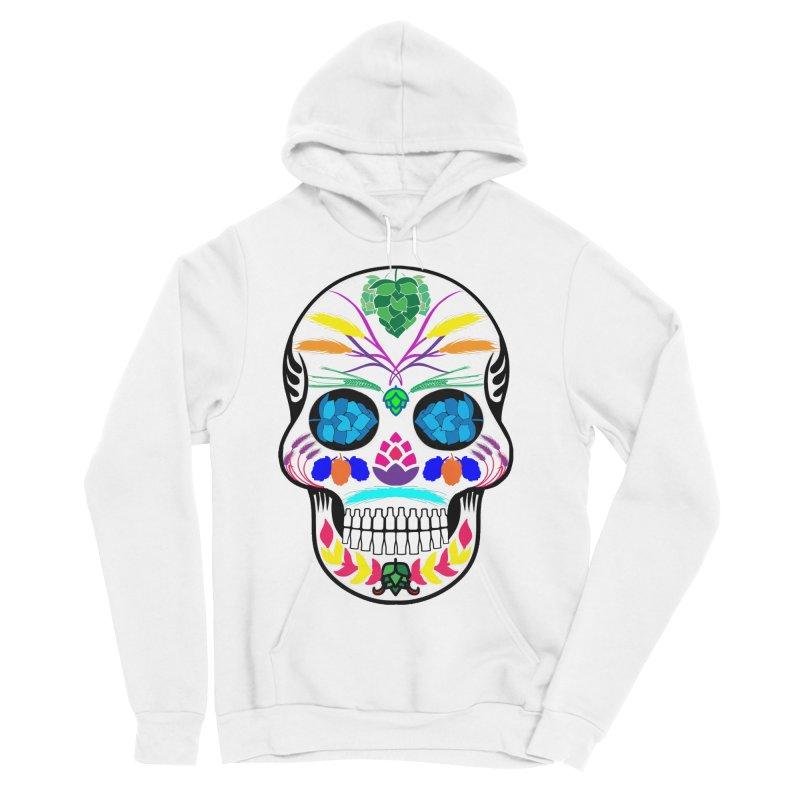 Hoppy Sugar Skull (color) Men's Sponge Fleece Pullover Hoody by DrinkIN GeekOUT's Artist Shop