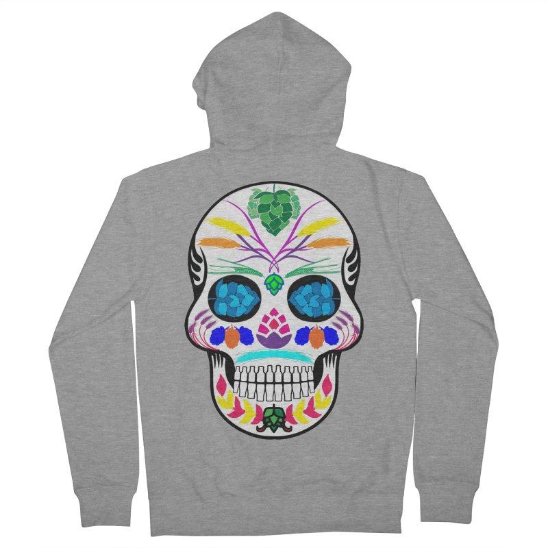 Hoppy Sugar Skull (color) Women's French Terry Zip-Up Hoody by DrinkIN GeekOUT's Artist Shop