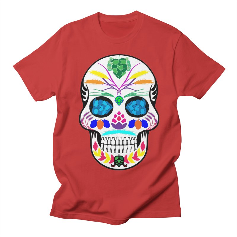Hoppy Sugar Skull (color) Men's Regular T-Shirt by DrinkIN GeekOUT's Artist Shop