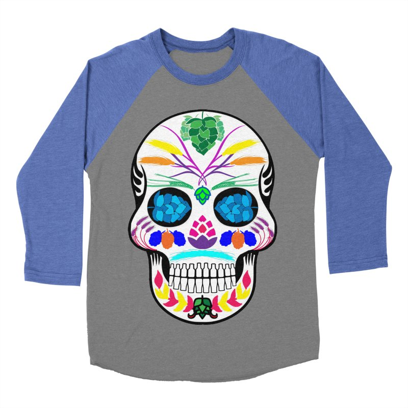 Hoppy Sugar Skull (color) Women's Baseball Triblend Longsleeve T-Shirt by DrinkIN GeekOUT's Artist Shop
