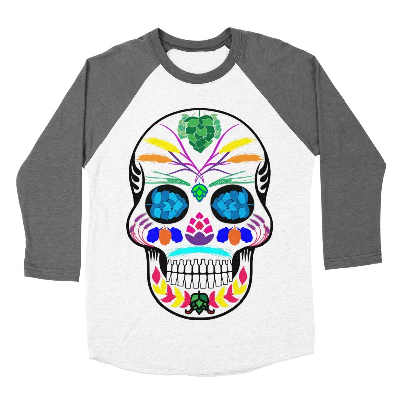 Hoppy Sugar Skull (color) Men's Baseball Triblend Longsleeve T-Shirt by DrinkIN GeekOUT's Artist Shop