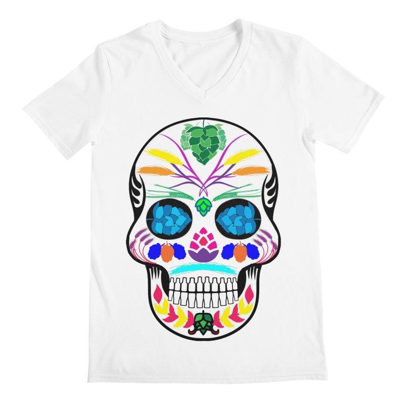 Hoppy Sugar Skull (color) Men's Regular V-Neck by DrinkIN GeekOUT's Artist Shop