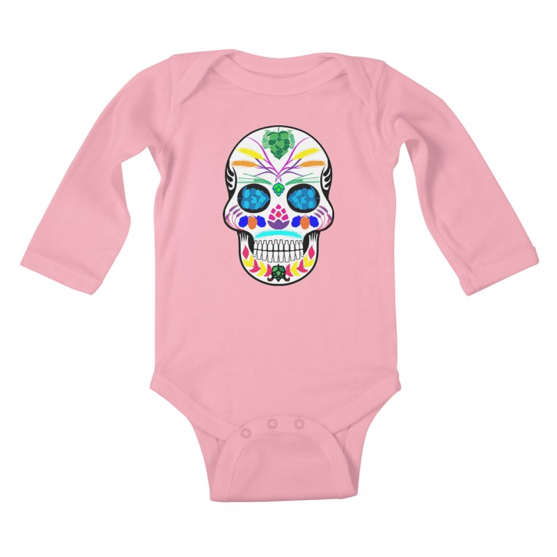 Hoppy Sugar Skull (color) Kids Baby Longsleeve Bodysuit by DrinkIN GeekOUT's Artist Shop