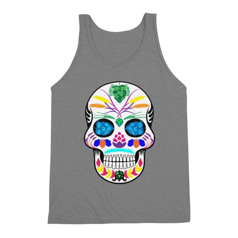 Hoppy Sugar Skull (color) Men's Triblend Tank by DrinkIN GeekOUT's Artist Shop