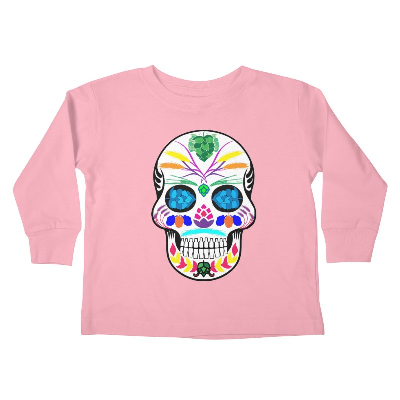 Hoppy Sugar Skull (color) Kids Toddler Longsleeve T-Shirt by DrinkIN GeekOUT's Artist Shop