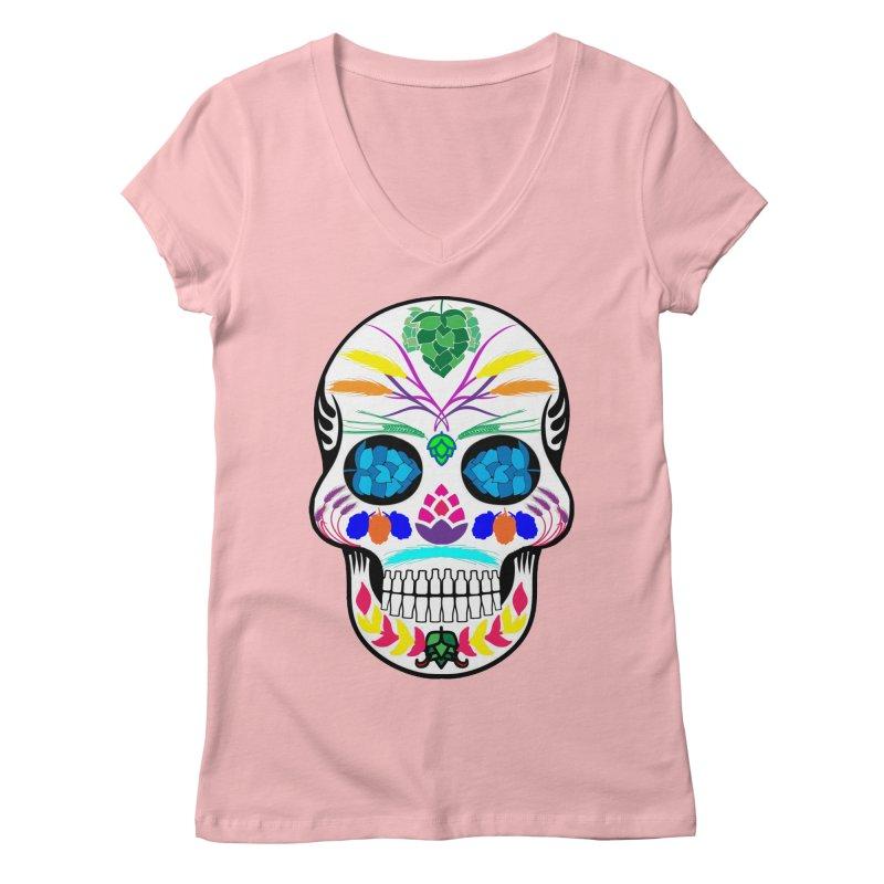 Hoppy Sugar Skull (color) Women's Regular V-Neck by DrinkIN GeekOUT's Artist Shop