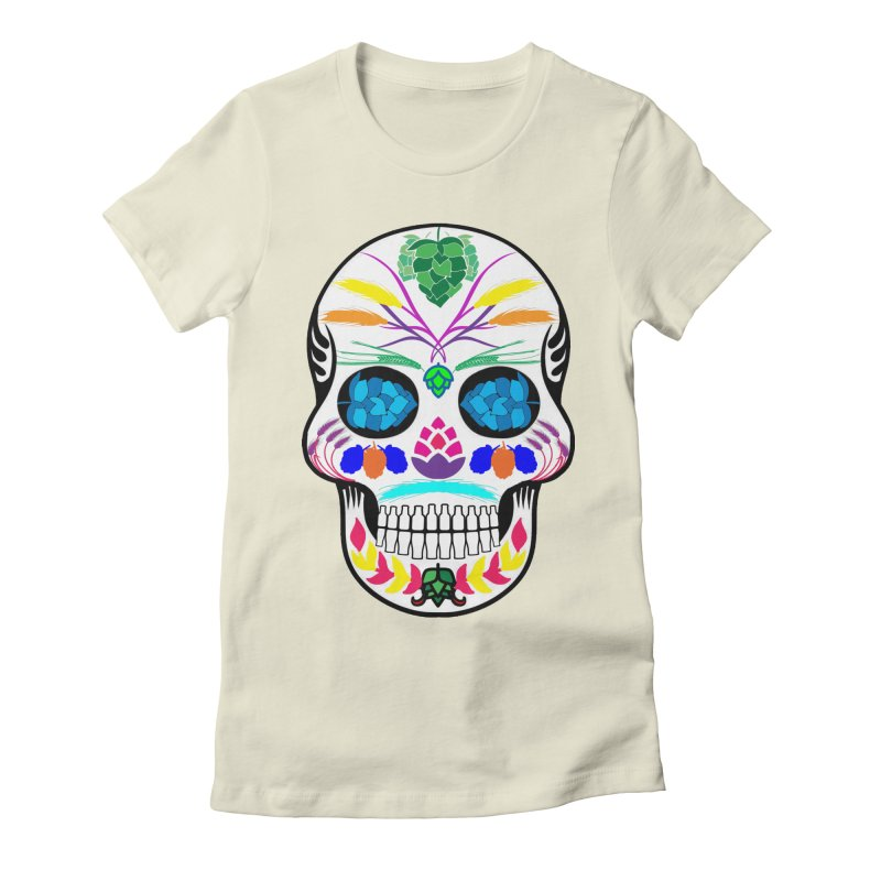 Hoppy Sugar Skull (color) Women's Fitted T-Shirt by DrinkIN GeekOUT's Artist Shop