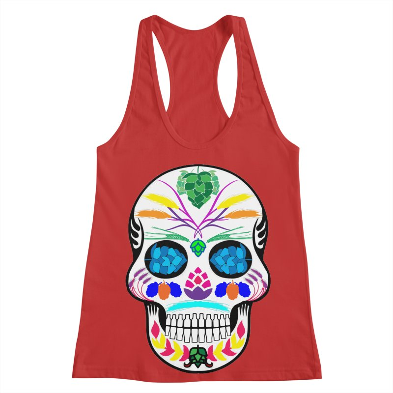Hoppy Sugar Skull (color) Women's Racerback Tank by DrinkIN GeekOUT's Artist Shop