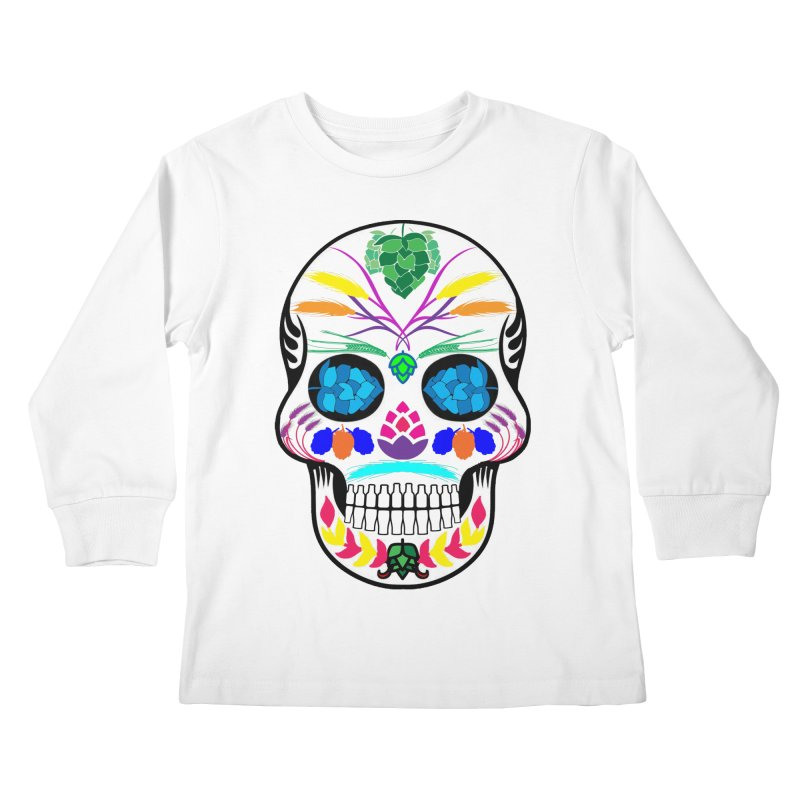 Hoppy Sugar Skull (color) Kids Longsleeve T-Shirt by DrinkIN GeekOUT's Artist Shop