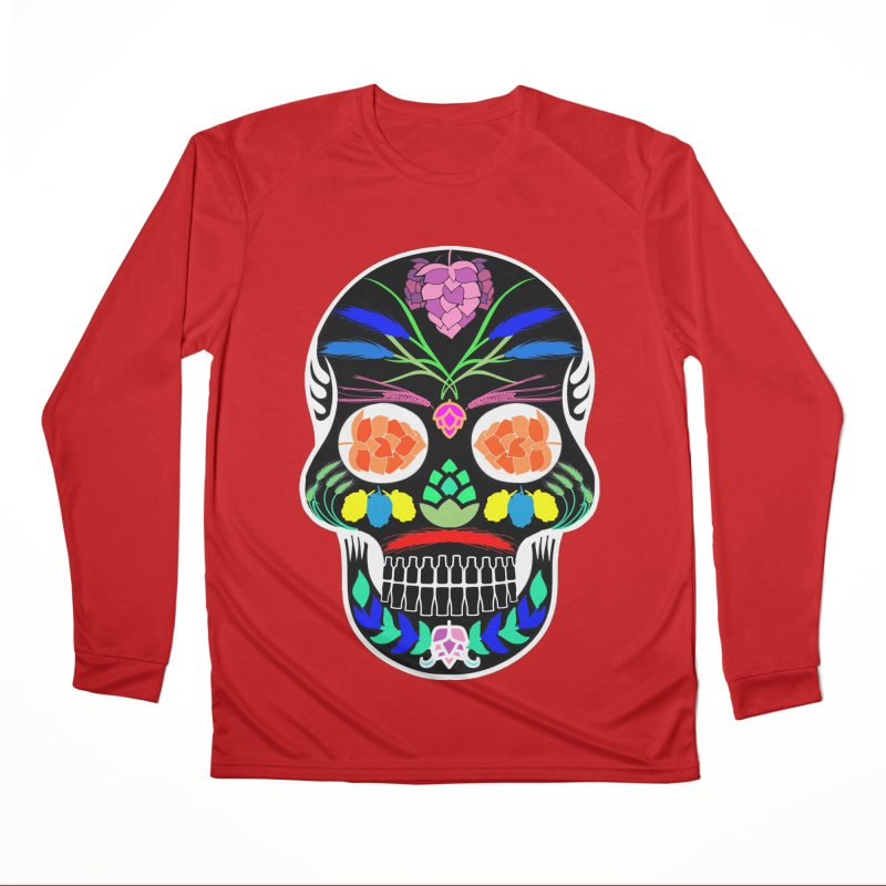 Hoppy Sugar Skull (inverse) Men's Performance Longsleeve T-Shirt by DrinkIN GeekOUT's Artist Shop