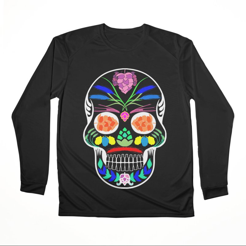 Hoppy Sugar Skull (inverse) Women's Performance Unisex Longsleeve T-Shirt by DrinkIN GeekOUT's Artist Shop