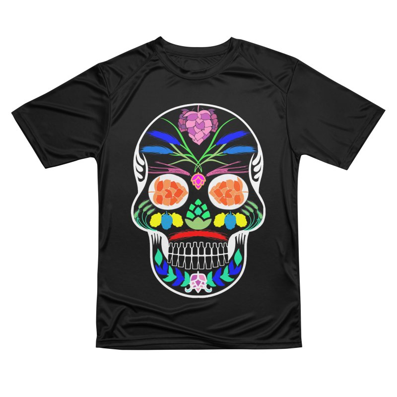Hoppy Sugar Skull (inverse) Women's Performance Unisex T-Shirt by DrinkIN GeekOUT's Artist Shop