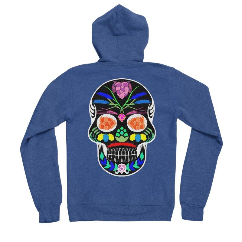 Hoppy Sugar Skull (inverse) Women's Sponge Fleece Zip-Up Hoody by DrinkIN GeekOUT's Artist Shop