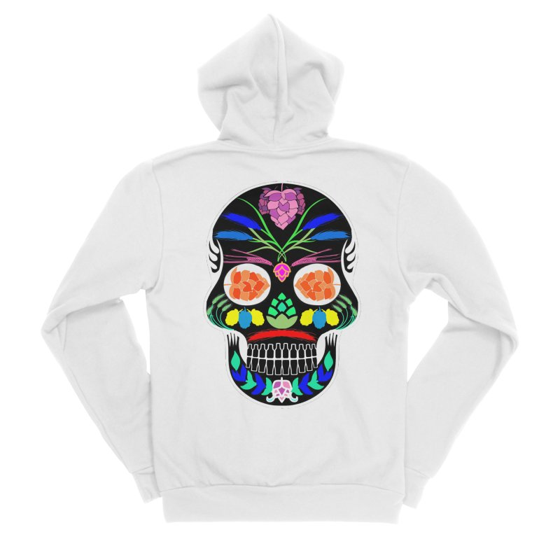 Hoppy Sugar Skull (inverse) Women's Sponge Fleece Zip-Up Hoody by DrinkIN GeekOUT's Artist Shop