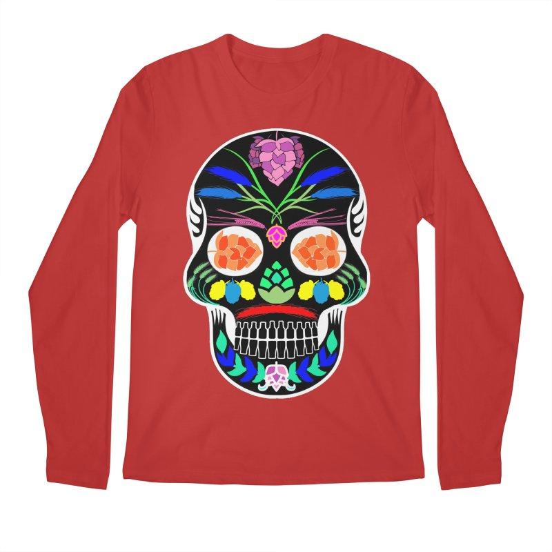 Hoppy Sugar Skull (inverse) Men's Regular Longsleeve T-Shirt by DrinkIN GeekOUT's Artist Shop