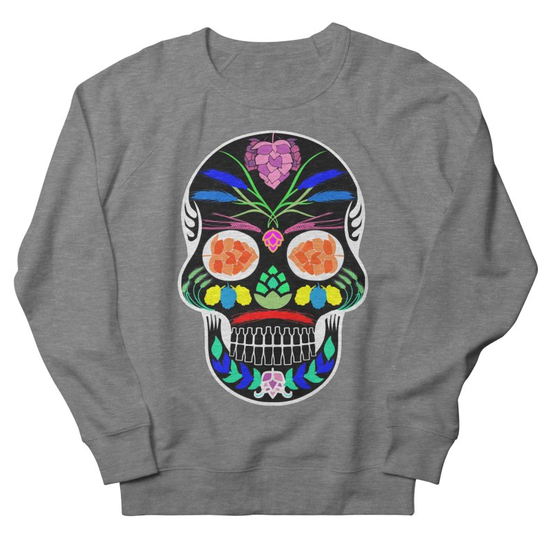 Hoppy Sugar Skull (inverse) Men's French Terry Sweatshirt by DrinkIN GeekOUT's Artist Shop