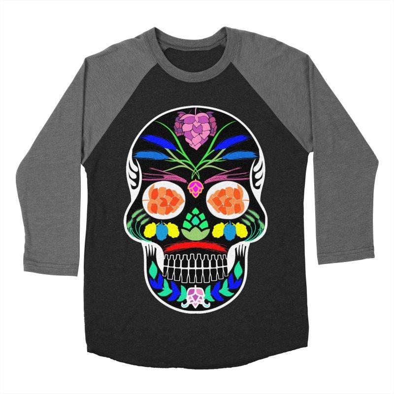 Hoppy Sugar Skull (inverse) Women's Baseball Triblend Longsleeve T-Shirt by DrinkIN GeekOUT's Artist Shop