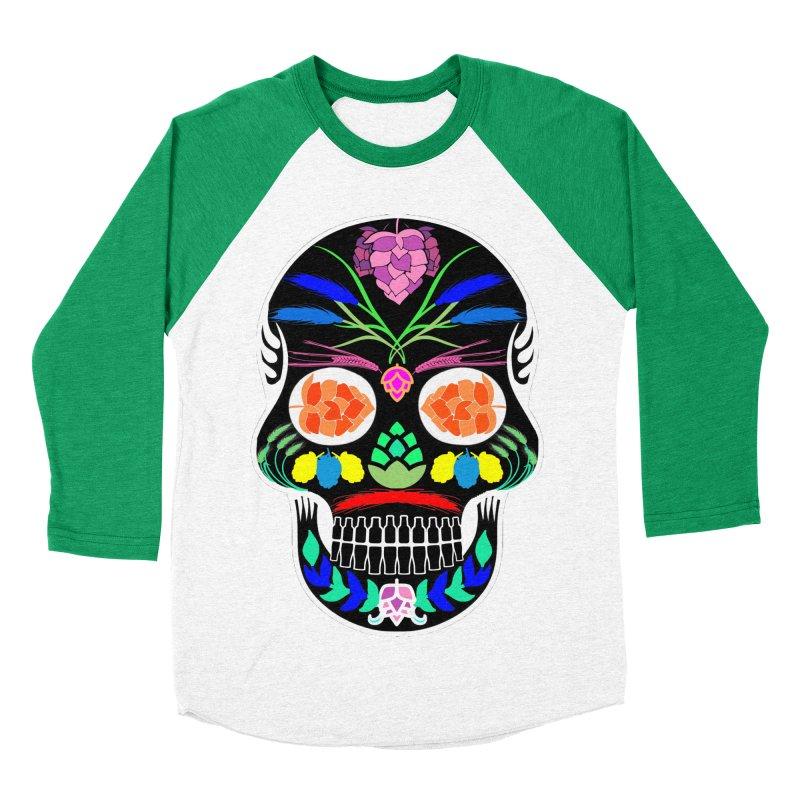 Hoppy Sugar Skull (inverse) Men's Baseball Triblend Longsleeve T-Shirt by DrinkIN GeekOUT's Artist Shop