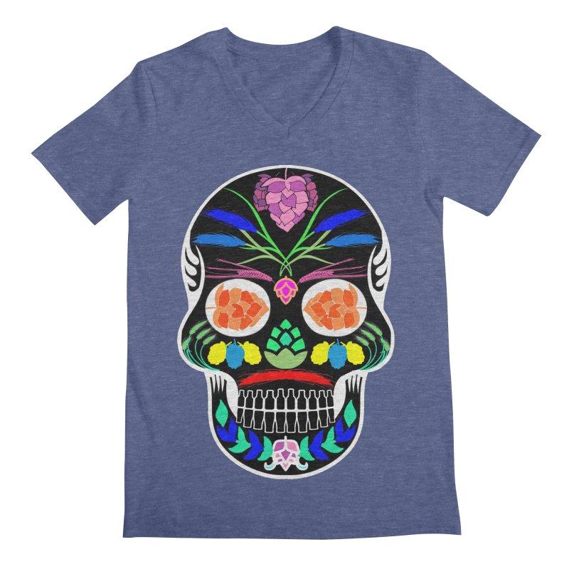 Hoppy Sugar Skull (inverse) Men's Regular V-Neck by DrinkIN GeekOUT's Artist Shop