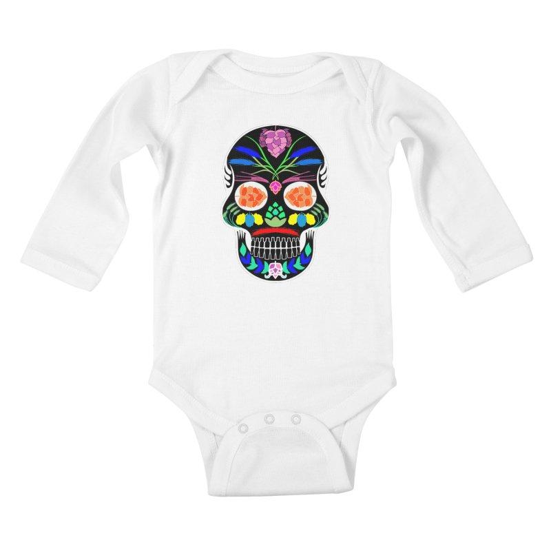 Hoppy Sugar Skull (inverse) Kids Baby Longsleeve Bodysuit by DrinkIN GeekOUT's Artist Shop