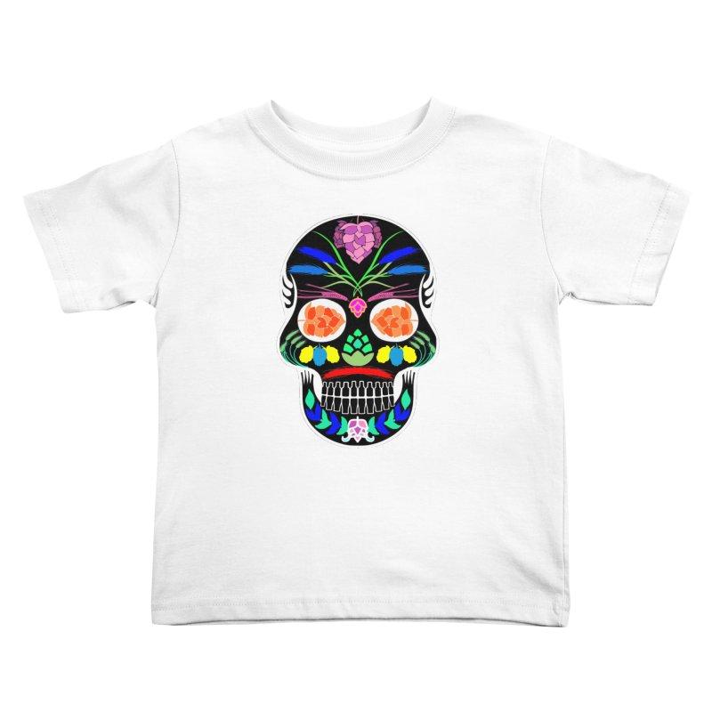 Hoppy Sugar Skull (inverse) Kids Toddler T-Shirt by DrinkIN GeekOUT's Artist Shop
