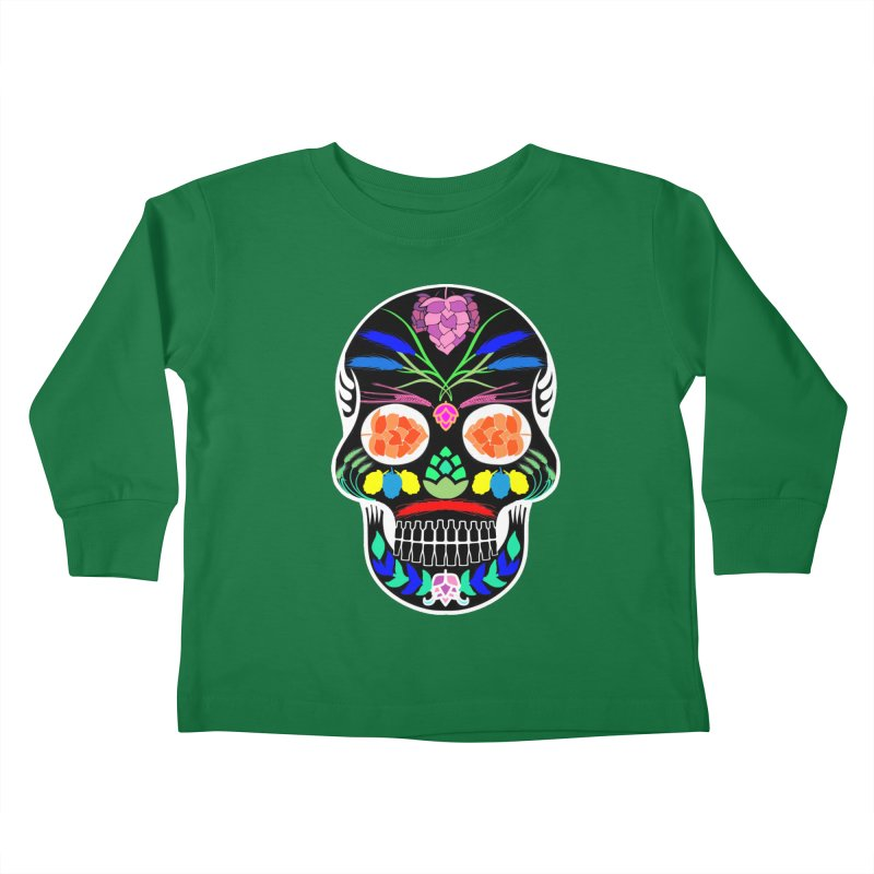 Hoppy Sugar Skull (inverse) Kids Toddler Longsleeve T-Shirt by DrinkIN GeekOUT's Artist Shop