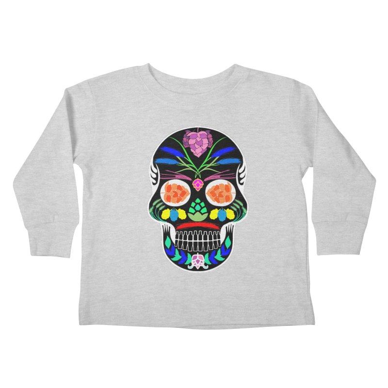 Hoppy Sugar Skull (inverse) Kids Toddler Longsleeve T-Shirt by DrinkIN GeekOUT's Artist Shop