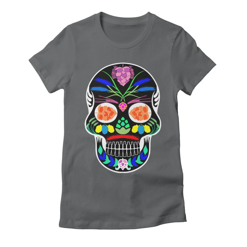 Hoppy Sugar Skull (inverse) Women's Fitted T-Shirt by DrinkIN GeekOUT's Artist Shop