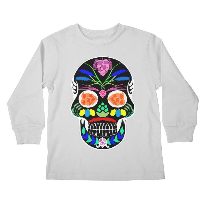 Hoppy Sugar Skull (inverse) Kids Longsleeve T-Shirt by DrinkIN GeekOUT's Artist Shop
