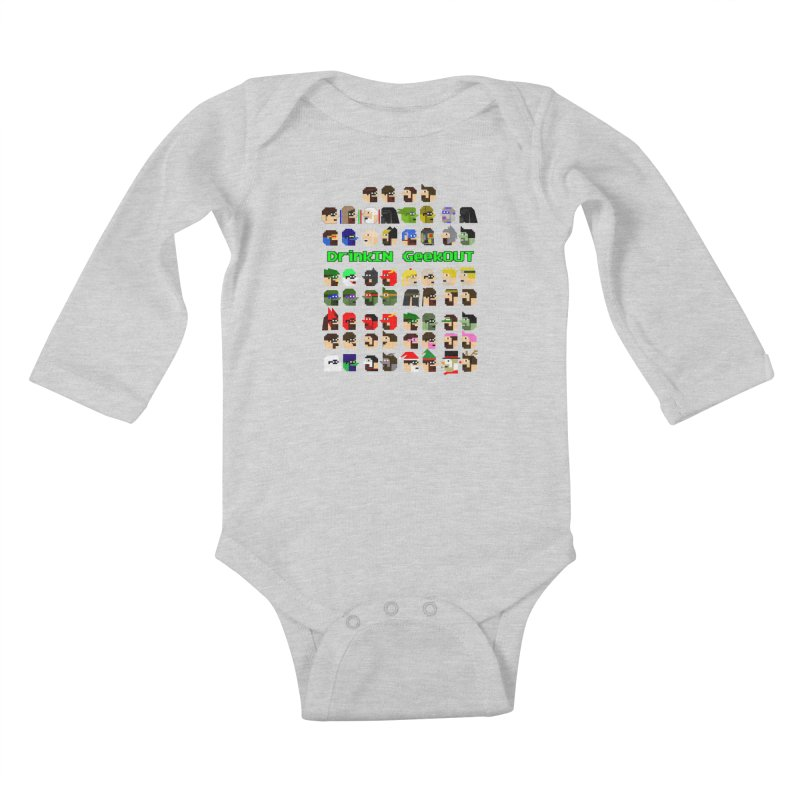 Many Heads Kids Baby Longsleeve Bodysuit by DrinkIN GeekOUT's Artist Shop