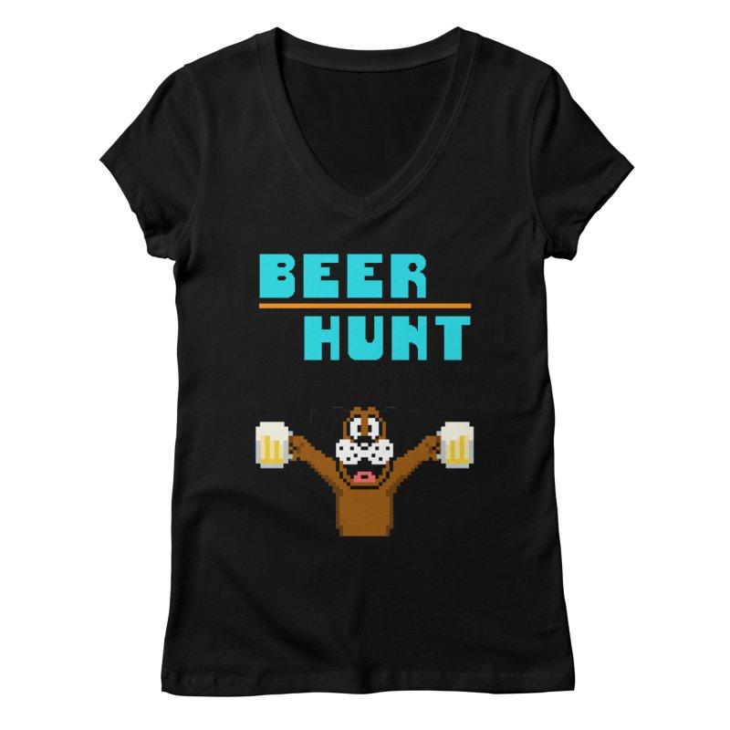 Beer Hunt Dog Women's V-Neck by DrinkIN GeekOUT's Artist Shop