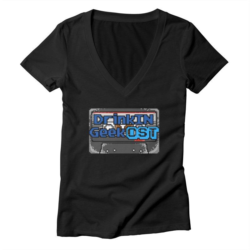 DrinkIN GeekOST Tape Women's V-Neck by DrinkIN GeekOUT's Artist Shop