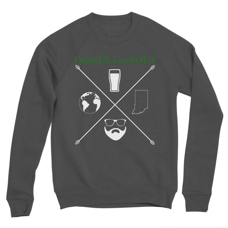 White Hopster Men's Sponge Fleece Sweatshirt by DrinkIN GeekOUT's Artist Shop