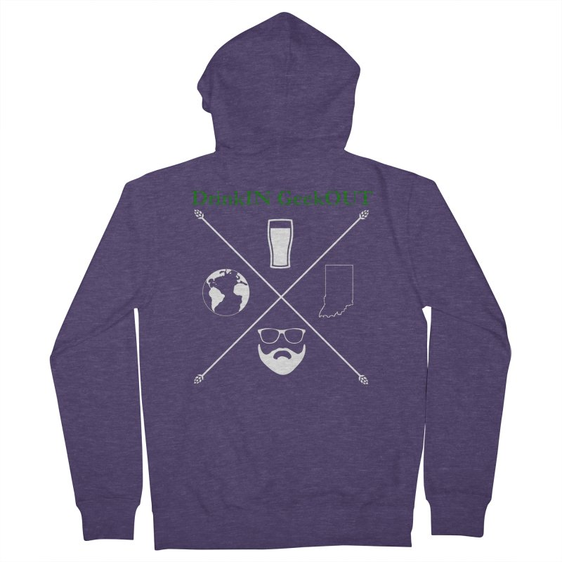 White Hopster Men's French Terry Zip-Up Hoody by DrinkIN GeekOUT's Artist Shop