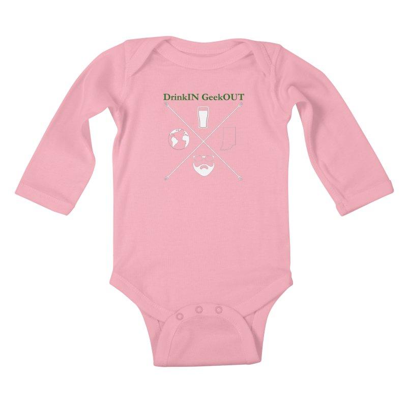 White Hopster Kids Baby Longsleeve Bodysuit by DrinkIN GeekOUT's Artist Shop
