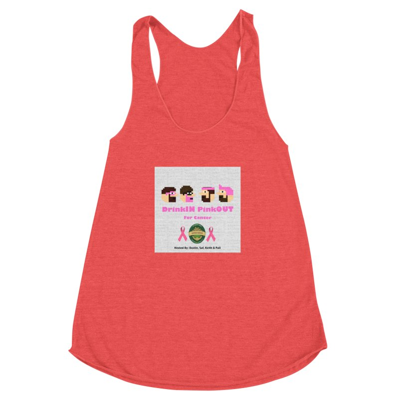 DrinkIN PinkOUT Women's Racerback Triblend Tank by DrinkIN GeekOUT's Artist Shop