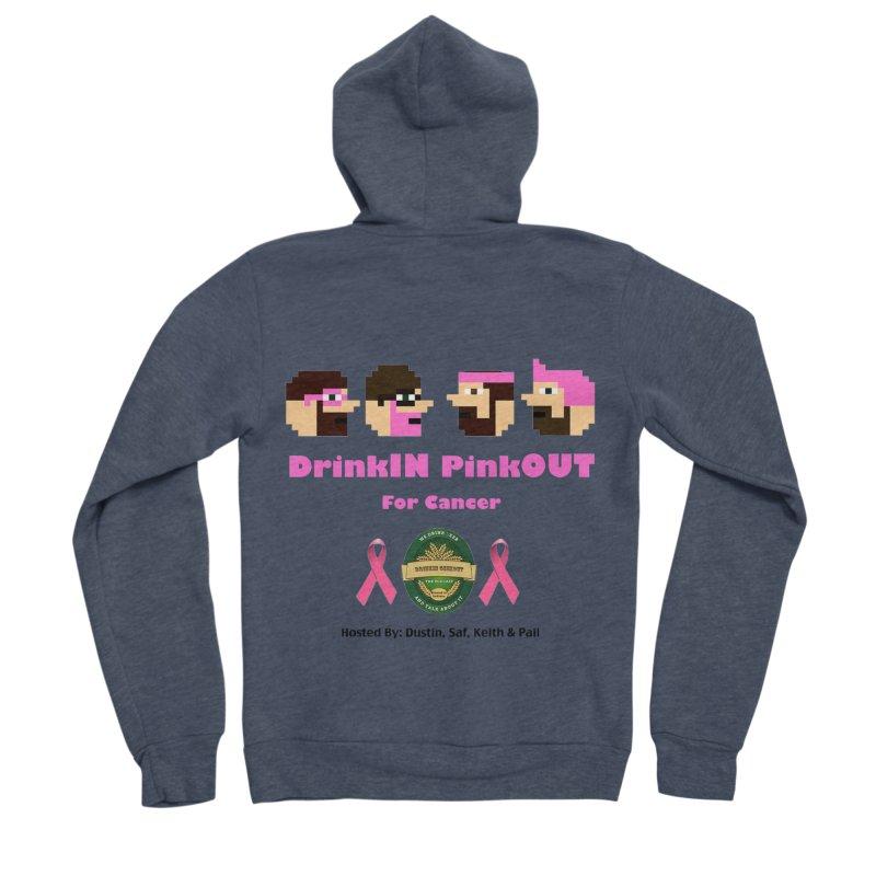 DrinkIN PinkOUT - no bg Men's Sponge Fleece Zip-Up Hoody by DrinkIN GeekOUT's Artist Shop