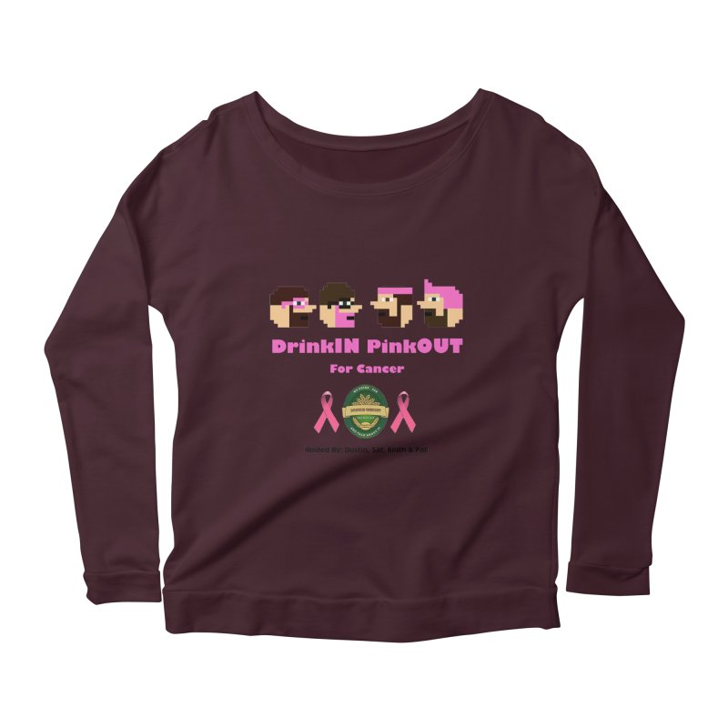 DrinkIN PinkOUT - no bg Women's Scoop Neck Longsleeve T-Shirt by DrinkIN GeekOUT's Artist Shop