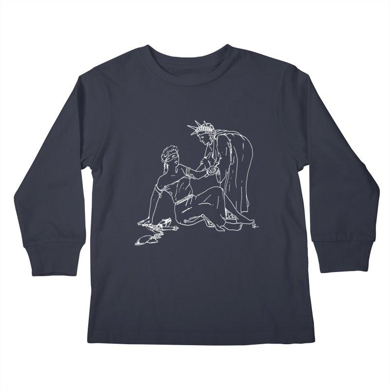 Liberty Lifting Justice Kids Longsleeve T-Shirt by Dswensondesign 's Artist Shop