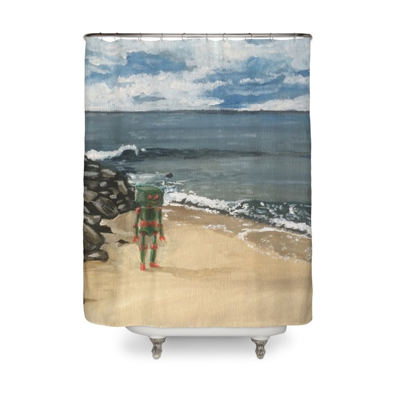 Lonely Robot 1 Home Shower Curtain by Dswensondesign 's Artist Shop