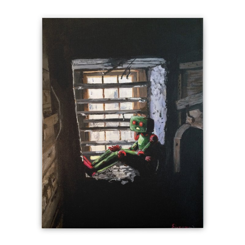 Lonely Robot 2 Home Stretched Canvas by Dswensondesign 's Artist Shop