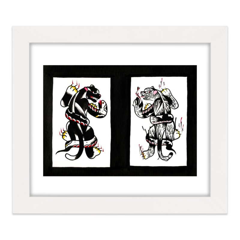 Panthers from Stream of Consciousness Home Framed Fine Art Print by Dustin Klein's Artist Shop