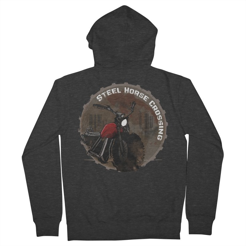 Wisconsin - Steel Horse Crossing Women's French Terry Zip-Up Hoody by Dystopia Rising's Artist Shop