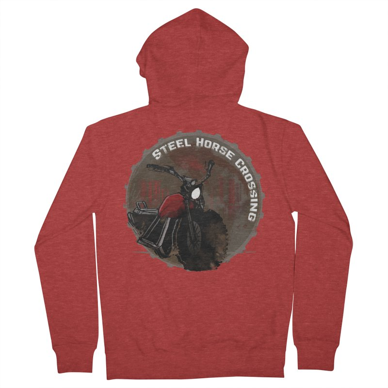 Wisconsin - Steel Horse Crossing Men's French Terry Zip-Up Hoody by Dystopia Rising's Artist Shop